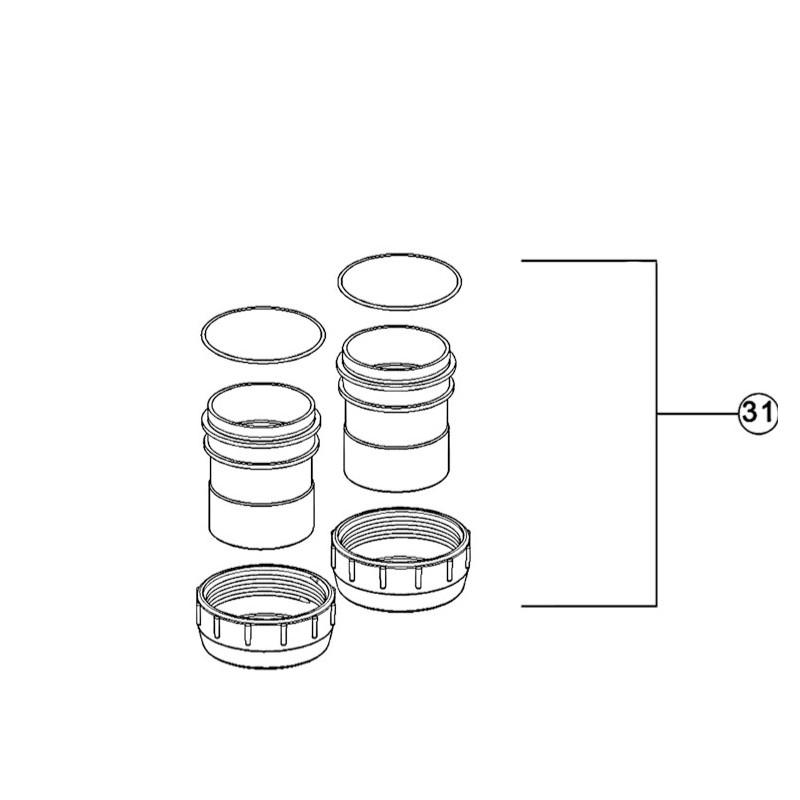 Conjunto adaptadores de unión Ø63 mm / 2'' Limpiafondos Zodiac Tri y Tri expert.