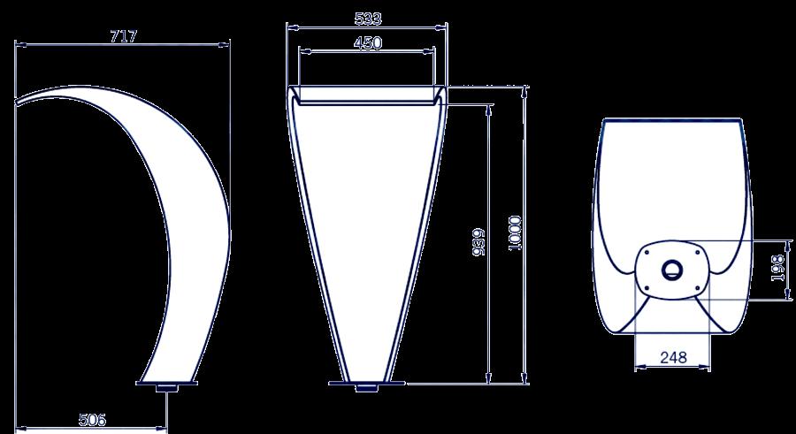 medidas cascada de agua cisne 450