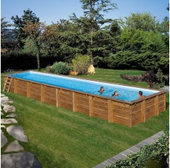 Piscina de madera Gre Cardamon rectangular 1210x418x146