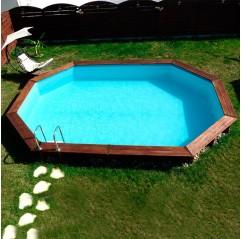 Piscina de madera Gre Camomille ovalada 620x395x127