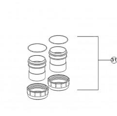 Conjunto adaptadores de unión Ø63 mm / 2'' clorador salino Zodiac