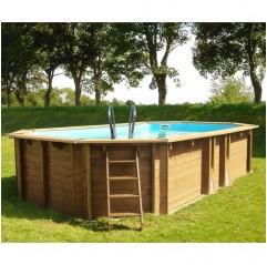 Piscina de madera Gre Safran ovalada 637x412x133