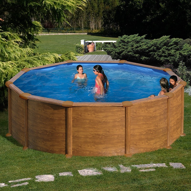 Piscina desmontable Gre Mauritius circular imitación madera