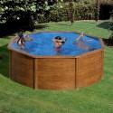 Piscina desmontable Gre Sicilia circular imitación madera