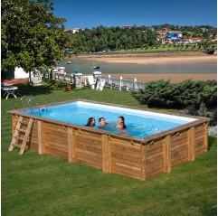 Piscina de madera Gre Evora rectangular 620x420x146