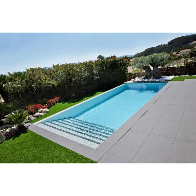 Piscina de obra 12x6 de gresite gris for Medidas de piscinas de obra