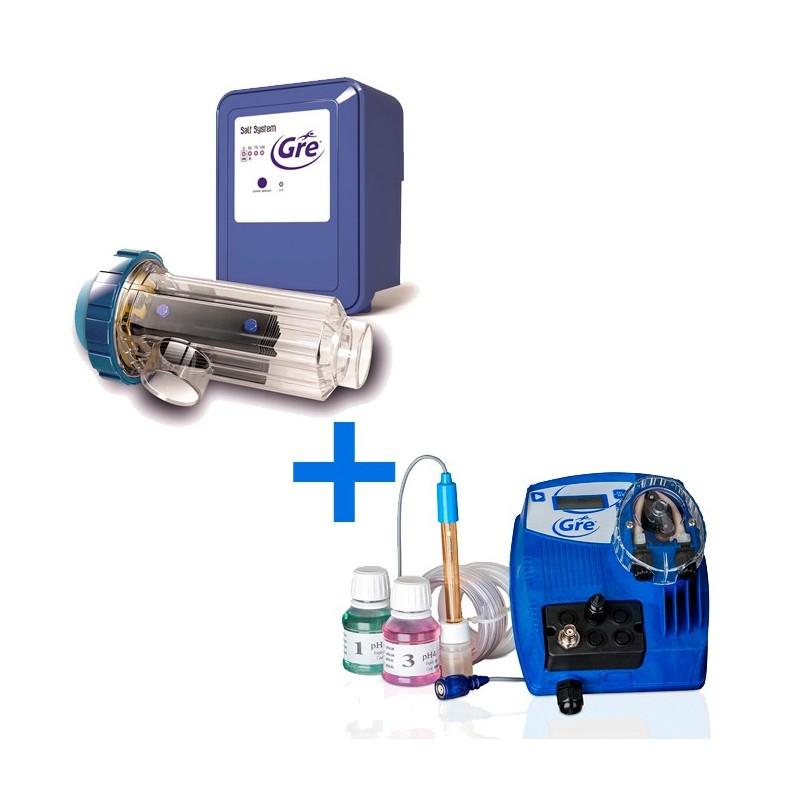 Pack de electrolisis sal para piscina enterrada + controlador de ph Gre