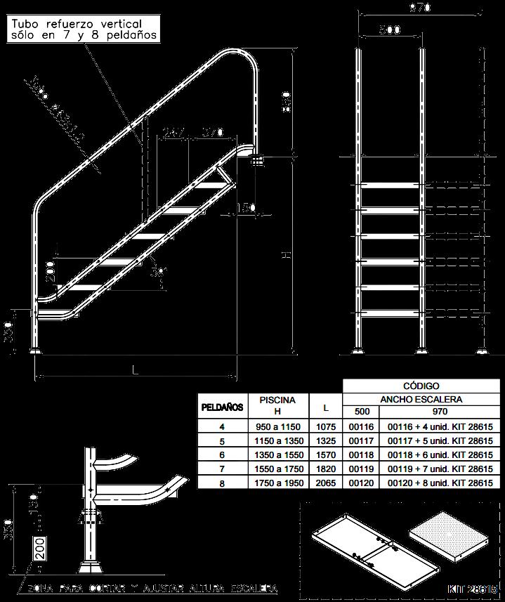 Escalera cl sica de acceso a piscina 500 mm astralpool for Dimensiones de escaleras