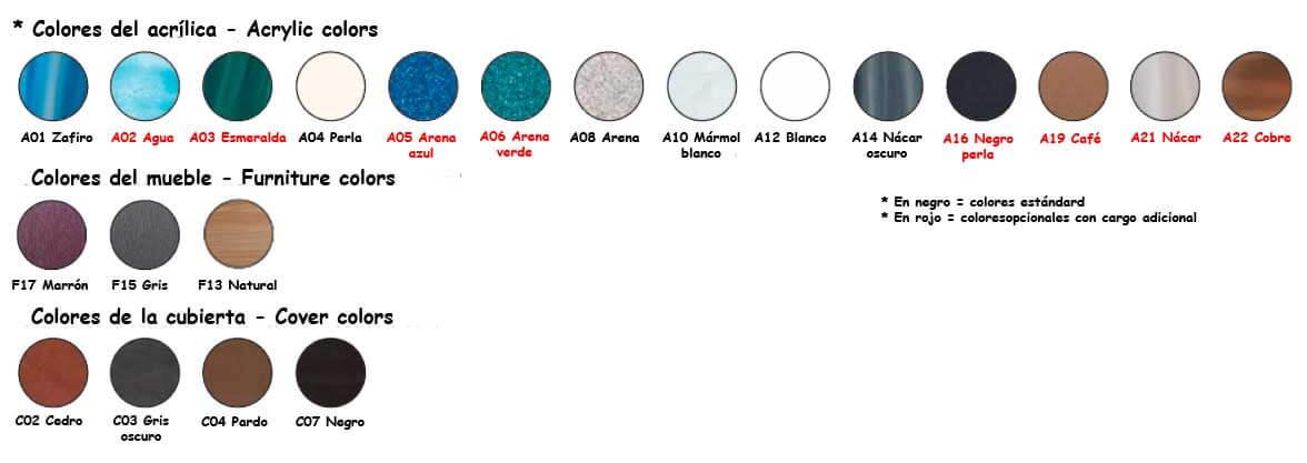 Colores disponibles Spa Olimpia